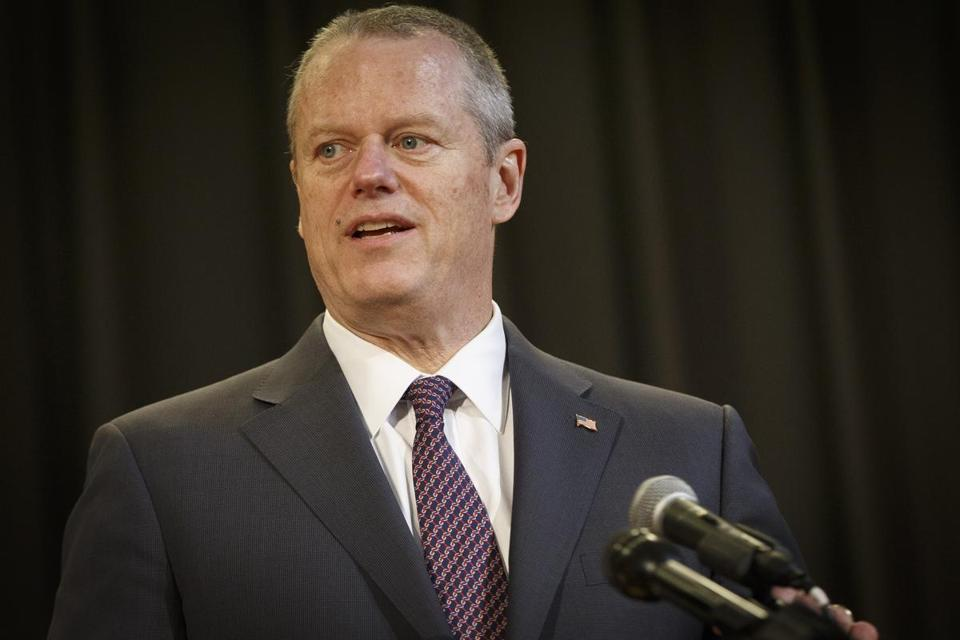 MEDFORD, MA - 4/25/2017 - Massachusetts Governor Charlie Baker speaks about the filing of an act relative to the harmful distribution of sexually explicit visual material at the Boston Latin Academy in MEDFORD, MA, April 25, 2017. (Keith Bedford/Globe Staff) mag_cat_trapper